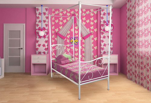 KING SINGLE VALENTINE 4 POSTER BED - CHOICE OF COLOURS