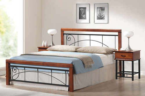 QUEEN FRANKLIN TIMBER AND METAL BED - ANTIQUE OAK / PLATINUM BLACK