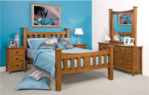 QUEEN MANHATTAN BED (MODEL 19-5-1-20-20-12-5) - OLD ENGLISH