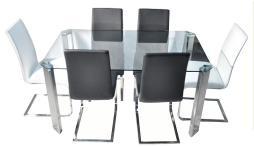 ANGELA 7 PIECE DINING SETTING WITH BALE CHAIRS - 1500(W) x 900(D) - BLACK OR WHITE