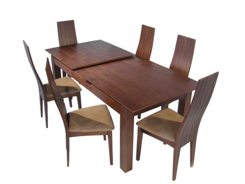 HANNA 7 PIECE EXTENSION DINING SETTING WITH BEIGE CHAIRS - 1800/2255(L) x 900(W) - WALNUT