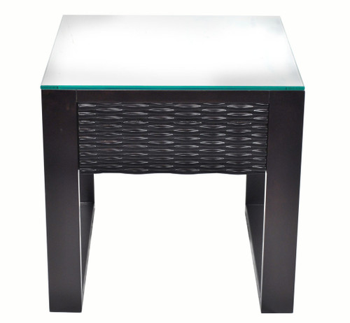 CHLOE LAMP / SIDE TABLE WITH GLASS TOP