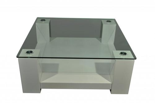 WINNIE SQUARE COFFEE TABLE - 430(H) X 1100(L) X 1100(D)  -  HIGH GLOSS WHITE