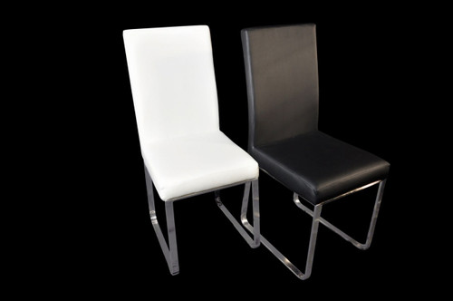 EDWIN FABRIC OR LEATHERETTE DINING CHAIR - SET OF 4 - BLACK OR WHITE