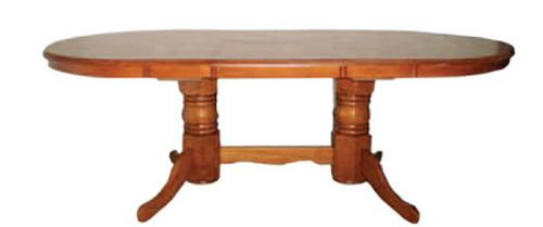 KINGSTON DOUBLE PEDESTAL EXTENSION DINING TABLE ONLY - 1500/1940(W) X 1000(D) - ANTIQUE OAK