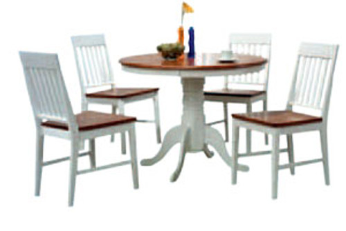 BRENNA 5 PIECE ROUND FIXED DINING SETTING - 1000(D) - TWO TONE