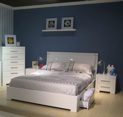 KING PRIMA BED WITH UNDERBED STORAGE DRAWERS (BE-963)  - HIGH GLOSS WHITE
