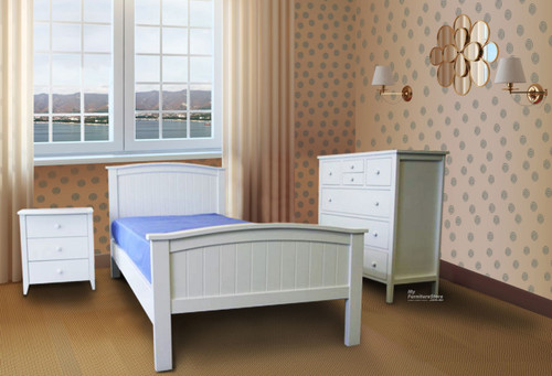 STELLA PANEL SB-STL (P) / KSB-STL (P) SINGLE OR KING SINGLE 3 PIECE BEDROOM SUITE - WITH SOLID PANEL BEDHEAD