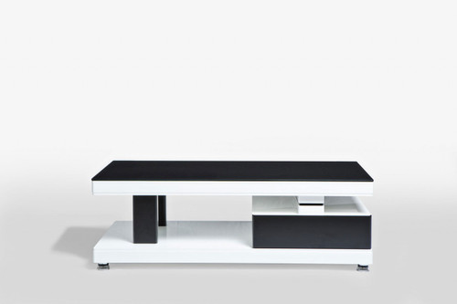 T1300-1 COFFEE TABLE WITH 2 DRAWERS - 440(H) X 1300(L) X  650(W) -HIGH GLOSS WHITE AND BLACK