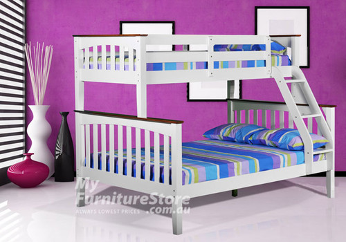 DESIREE TRIO BUNK BED (MODEL 19-1-18-1-8) - WHITE / WALNUT TOPS (2 TONE)