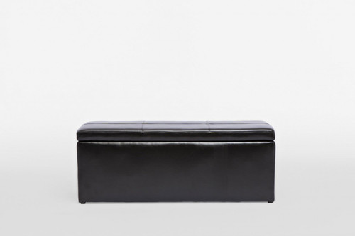 LEATHERETTE STORAGE OTTOMAN WITH 3 FOOTSTOOLS - 440(H) X 1170(W)  -BLACK