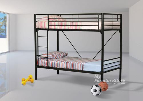 SINGLE COMMERCIAL BUNK BED - BLACK