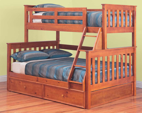 AWESOME (MODEL 6-15-18-20-5) TRIO BUNK BED WITH DOUBLE/SINGLE MATCHING STORAGE TRUNDLE - TEAK