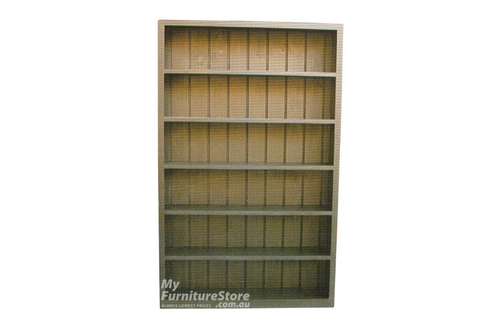CUBE BOOKCASE WITH T-BAR AND 10 ADJUSTABLE SHELVES - 2600(H) X 1500 (W) - ASSORTED COLOURS