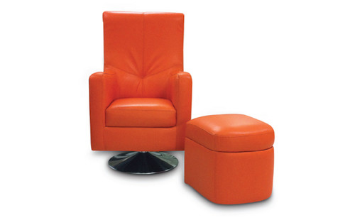 LOTUS SWIVEL FULL LEATHER CHAIR AND STOOL