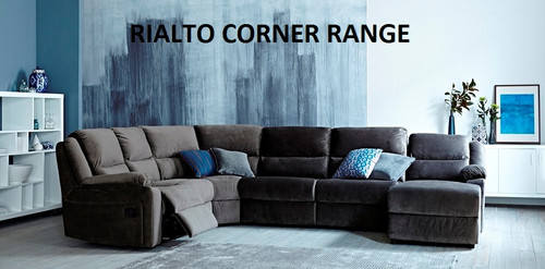 RIALTO 7 SEAT SUEDE CORNER CHAISE WITH SOFA BED - AS PICTURED