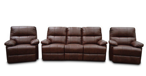SWISS 2RR+R+R FULL LEATHER RECLINER SUITE - (3 SEATER NOT PICTURED)