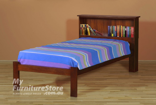 KING SINGLE BOOKEND BED - STAINED IN A CHOICE OF COLOURS