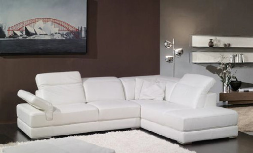 CONCETTO (F2014) 3 SEATER LEATHER/ETTE COMBINATION CHAISE LOUNGE - ASSORTED COLOURS