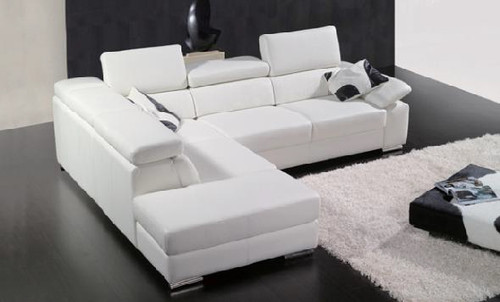 GRISSOM (F2032) 3 SEATER LEATHER/ETTE COMBINATION CHAISE LOUNGE - ASSORTED COLOURS