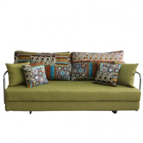 SAVANNAH FABRIC CLICK CLACK SOFA BED - GREEN
