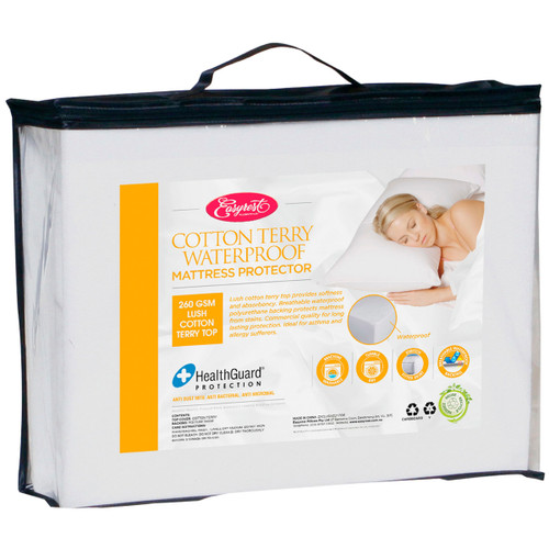 KING SINGLE COTTON TERRY WATERPROOF MATTRESS PROTECTOR (260GSM)