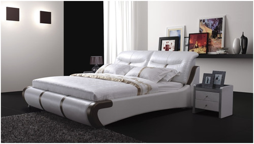 JULIAN-GRAY QUEEN 3 PIECE BEDSIDE BEDROOM SUITE WITH (#1 BEDSIDES) - LEATHERETTE - ASSORTED COLOURS