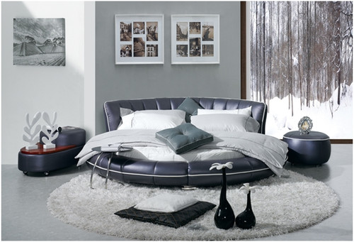 KING SIRIUS LEATHERETTE BED (A9009) (MATCHING ROUND MATTRESS OPTIONAL EXTRA) - ASSORTED COLOURS