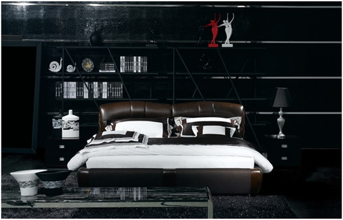 QUEEN FREDERICK LEATHERETTE BED (A9013) - ASSORTED COLOURS