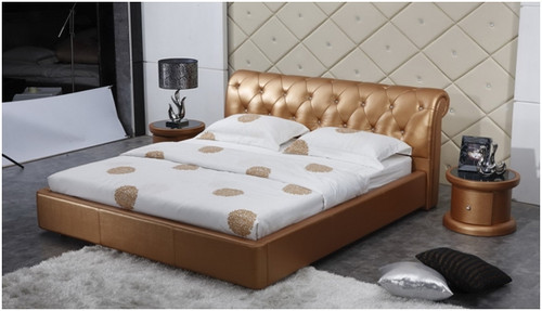 KING LANSLEBOURG LEATHERETTE BED (A9026) - ASSORTED COLOURS