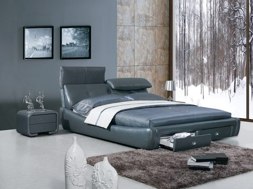 QUEEN DERRICK LEATHERETTE BED (A9110) - ASSORTED COLOURS