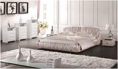 QUEEN HUGO LEATHERETTE BED (A9082) - ASSORTED COLOURS