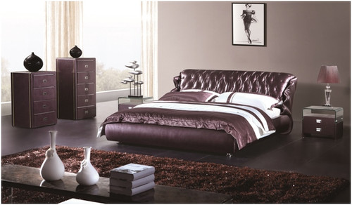 QUEEN LANCASTER LEATHERETTE BED (A9928) - ASSORTED COLOURS
