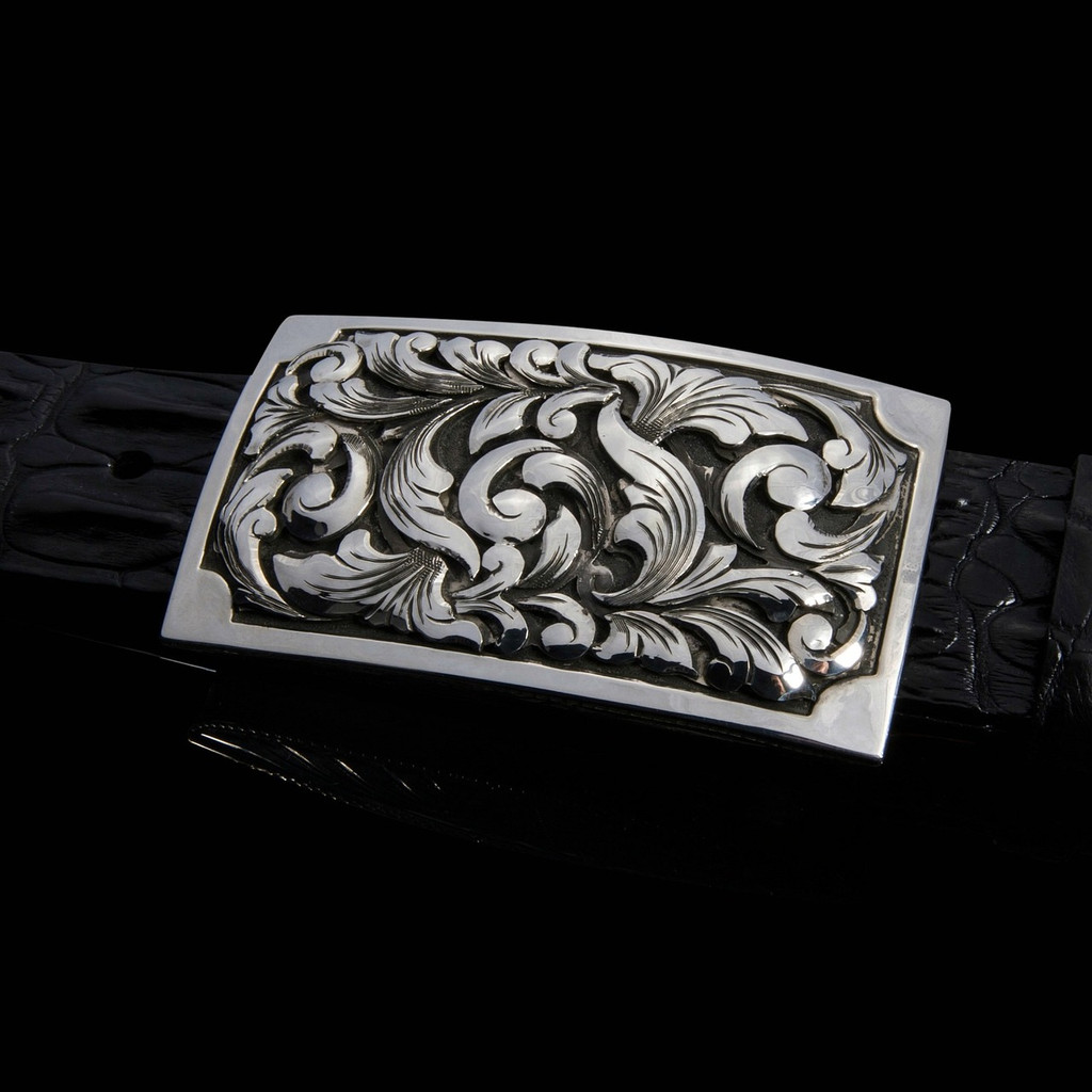 "Handmade Sterling Silver 1 1/2"" Buckle with 3D overlays and Polished border"