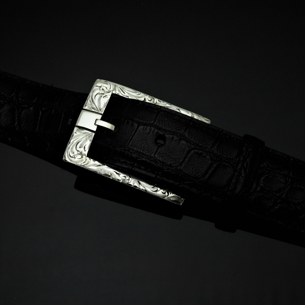 """Sterling Silver 1 1/2"""" Engraved Buckle"""