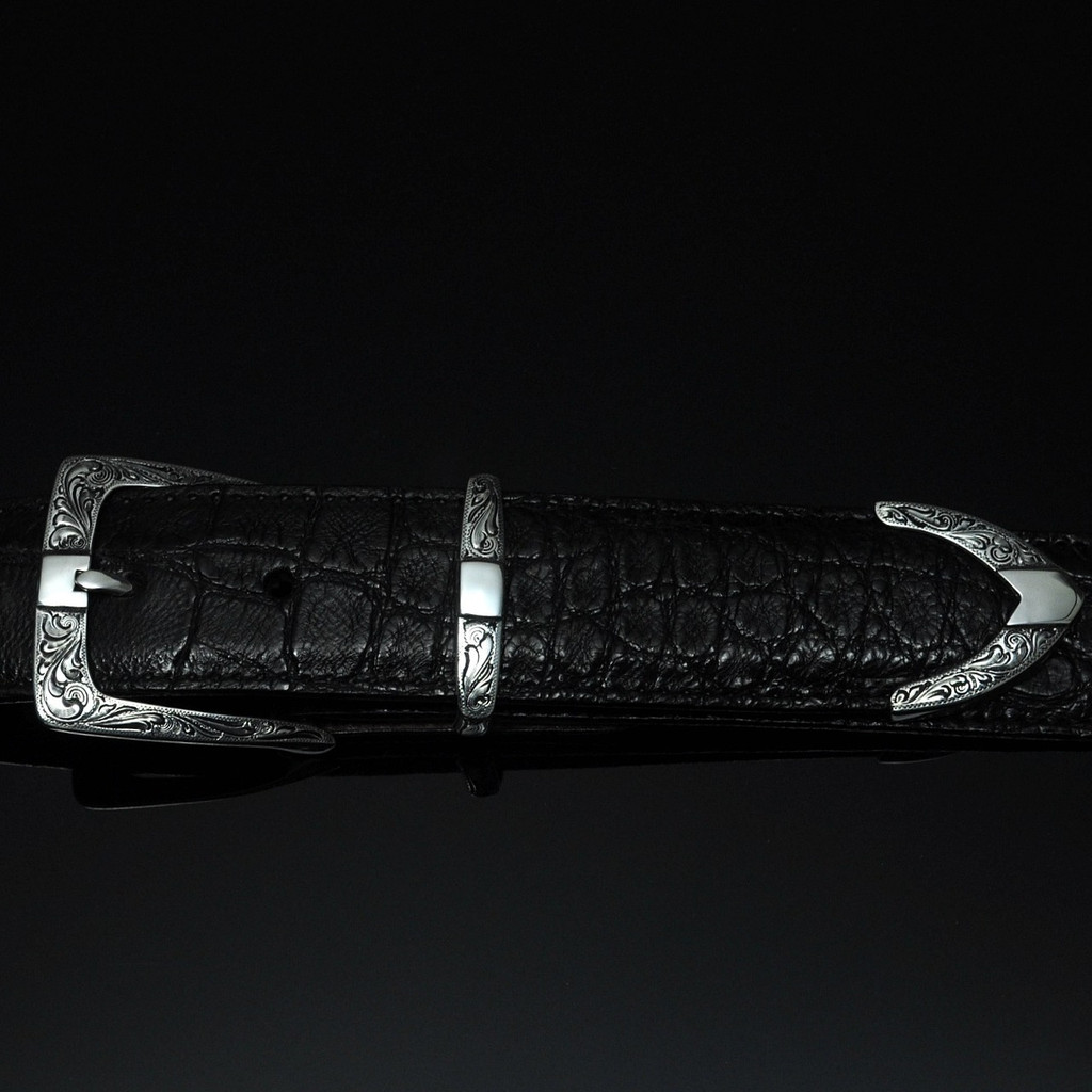 """Sterling Silver Hand Engraved Buckle Set 1 1/2"""""""