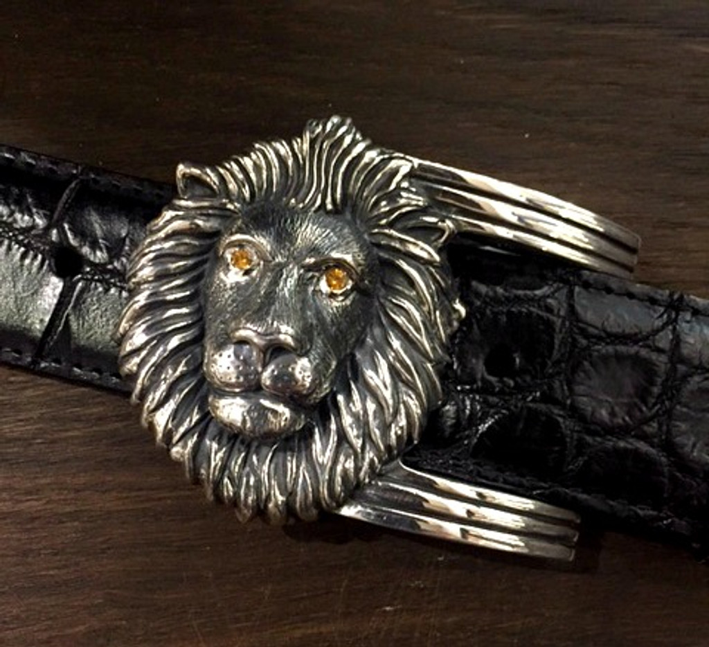 Sterling Silver Lion Buckle with Spessartite Eyes