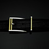 "Handmade Sterling silver 1 1/2"" Buckle Set with 18K Gold Rollers"