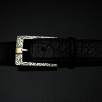 "Sterling Silver & 14K 1 1/2"" Engraved Buckle"