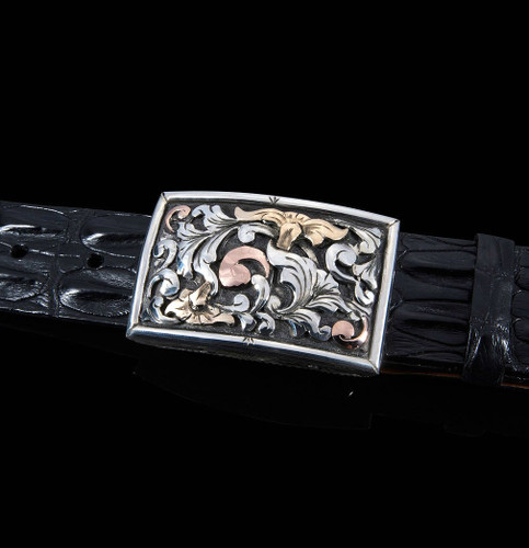 """Handmade Sterling Silver 1 1/2"""" Buckle with Sterling Silver, 14K Yellow & Rose Gold 3D Overlays"""