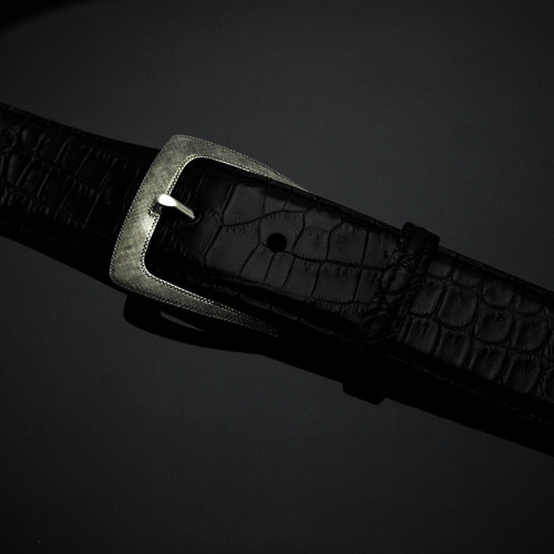 """Sterling Silver with Florentine Finish Buckle-1 1/2"""""""