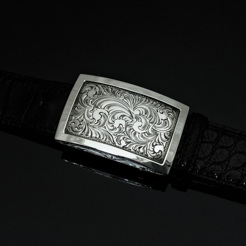 "Handmade Engraved Sterling Silver 1 1/2"" buckle with Polish Border"