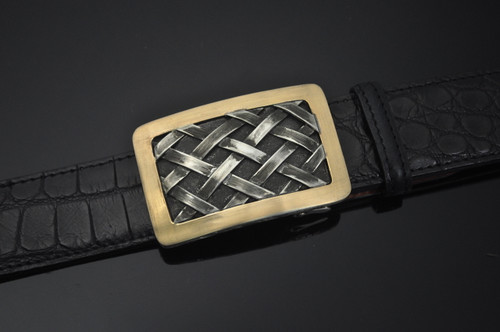 Buckle Made of Sterling Silver Basket Weave Design with 14K Satin Gold Border