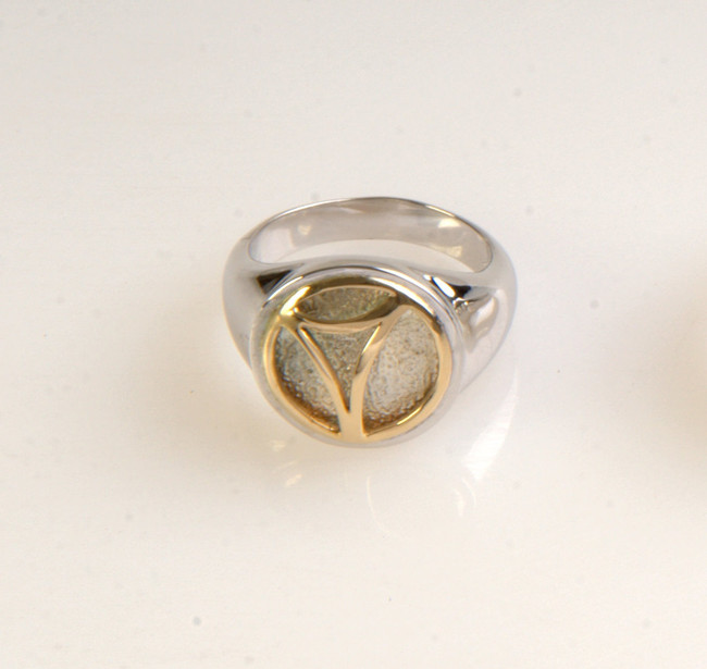 Bass Pan Hoop Ring - Sterling Silver  with 14K gold