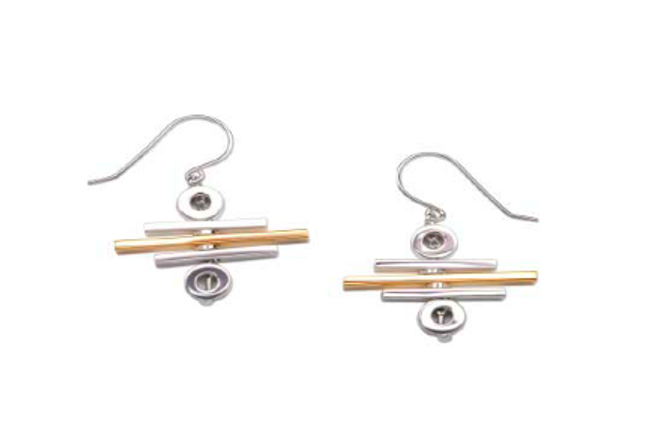 Movement Rack Two Tone Bar Earrings