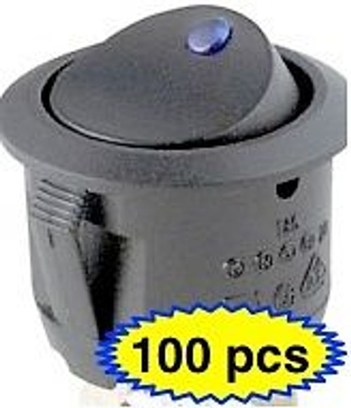 100 x BLUE LED ROCKER SWITCH 12V ROUND TOGGLE ON OFF