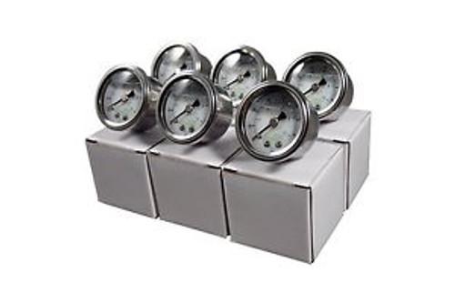 6) 1-1/2 Water Pressure Gauge Liquid Filled 1/4 Tube or 1/8 NPT 0-150 PSI