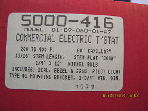 RobertShaw 5000-847 D1 COMMERCIAL ELECTRIC THERMOSTAT (5000-416) 200/400 F