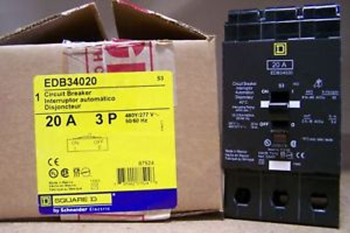 Square D EDB34020  Type EDB - BRAND NEW  3 Pole 20Amps 480 Volts  PING