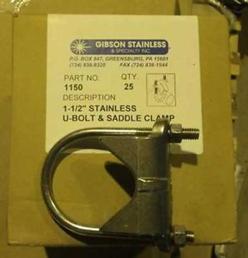 #1150 GIBSON 1 1/2  INCH STAINLESS STEEL U-BOLT AND SADDLE STRAP BOX OF 25